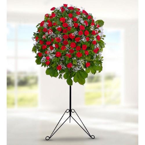 Kırmızı Güllerden Ferforje Aranjmanı